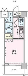 ロイジェントパークス赤坂 4階1Kの間取り