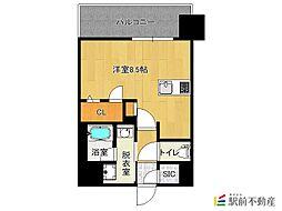 西鉄天神大牟田線 西鉄平尾駅 徒歩16分の賃貸マンション 2階ワンルームの間取り