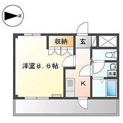 JR山陽本線 新倉敷駅 徒歩17分の賃貸アパート 2階1Kの間取り