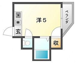 プリンスマンションリバーサイド 3階ワンルームの間取り