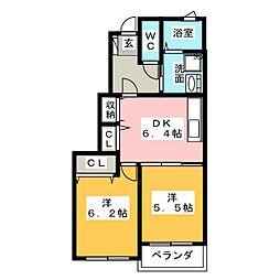 エバーフィールドI[1階]の間取り