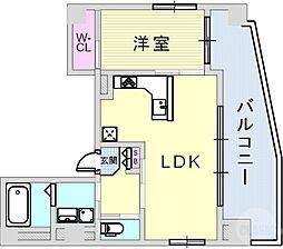 アルファ神戸元町 8階1LDKの間取り