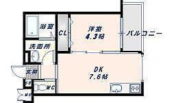 JR片町線(学研都市線) 徳庵駅 徒歩3分の賃貸アパート 1階1DKの間取り