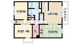 愛知県名古屋市緑区万場山2丁目の賃貸マンションの間取り