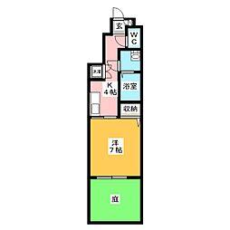 Villa Soleil 1階1Kの間取り