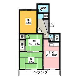 マンション北浜[3階]の間取り