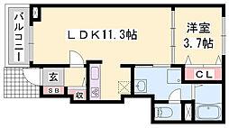 JR播但線 野里駅 徒歩21分の賃貸アパート 1階1LDKの間取り