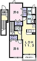 ブルック パレスA[2階]の間取り