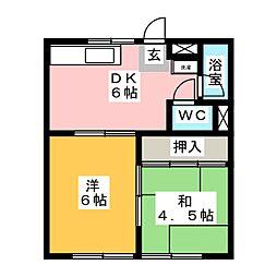 MIYAKEコーポ B[1階]の間取り