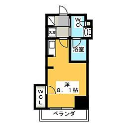 パークアクシス虎ノ門 5階ワンルームの間取り