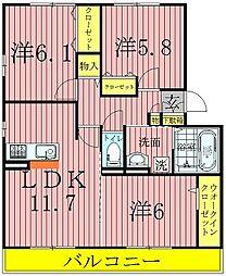 ジン ハウス[A102号室]の間取り