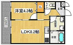 京都市営烏丸線 丸太町駅 徒歩7分の賃貸アパート 1階1LDKの間取り