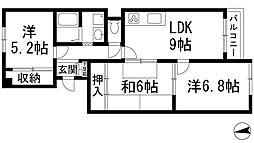 兵庫県宝塚市栄町3丁目の賃貸マンションの間取り