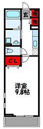 JR鹿児島本線 福工大前駅 徒歩18分の賃貸アパート 2階1Kの間取り