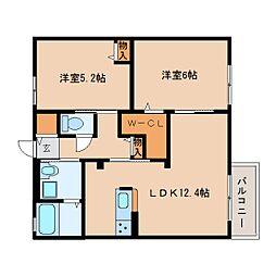 近鉄大阪線 桜井駅 徒歩19分の賃貸アパート 1階2LDKの間取り