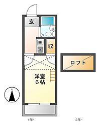 レジデンス上野[2階]の間取り