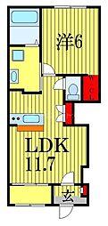 JR総武線 船橋駅 徒歩17分の賃貸アパート 1階1LDKの間取り