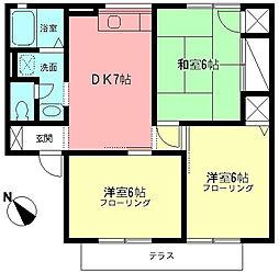 神奈川県秦野市東田原の賃貸アパートの間取り