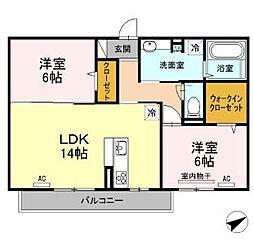 JR福塩線 高木駅 徒歩10分の賃貸アパート 3階2LDKの間取り