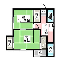 [一戸建] 愛知県知多市新知字南惣作 の賃貸【/】の間取り