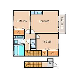 静岡県静岡市清水区駒越西の賃貸アパートの間取り