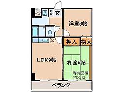 京都府京都市伏見区東町の賃貸マンションの間取り