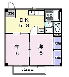 神奈川県小田原市矢作の賃貸アパートの間取り