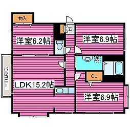 北海道札幌市北区篠路三条8丁目の賃貸マンションの間取り