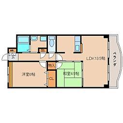 奈良県大和高田市市場の賃貸マンションの間取り