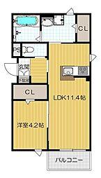 京阪本線 西三荘駅 徒歩3分の賃貸アパート 1階1LDKの間取り