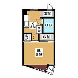 コーポ御幸山[3階]の間取り