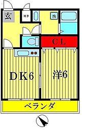 モン・ラフィーヌ 2階1DKの間取り
