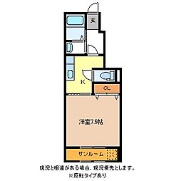 ガーデンハウス朝日山E[1階]の間取り