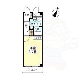 プラスコート西豊川 3階ワンルームの間取り