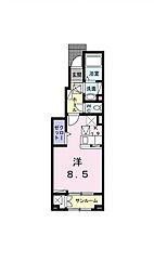 [家電付き] サンローレル 1階1Kの間取り