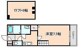 アルファステージ中森[1階]の間取り