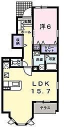 ノートルハウスII[1階]の間取り
