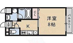 フルール東寺 3階1Kの間取り