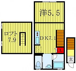 BIG LOFT STYLE 2階1DKの間取り