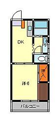 コートビレッジII 1階1DKの間取り
