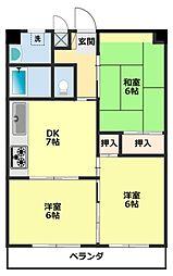 愛知県豊田市大清水町大清水の賃貸マンションの間取り