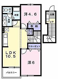 東京都立川市西砂町5丁目の賃貸アパートの間取り
