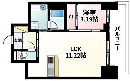 Osaka Metro御堂筋線 江坂駅 徒歩5分の賃貸マンション 18階1LDKの間取り