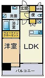 西鉄貝塚線 香椎宮前駅 徒歩1分の賃貸マンション 2階1LDKの間取り