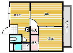田畑マンションB棟[2階]の間取り