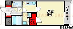 エントピアIII 4階1Kの間取り