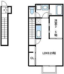 JR横浜線 淵野辺駅 バス8分 唐沢下車 徒歩3分の賃貸アパート 2階1LDKの間取り