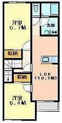 静岡県沼津市今沢の賃貸アパートの間取り