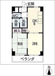 西一ビル[4階]の間取り