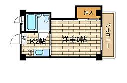 兵庫県神戸市須磨区大黒町3丁目の賃貸マンションの間取り